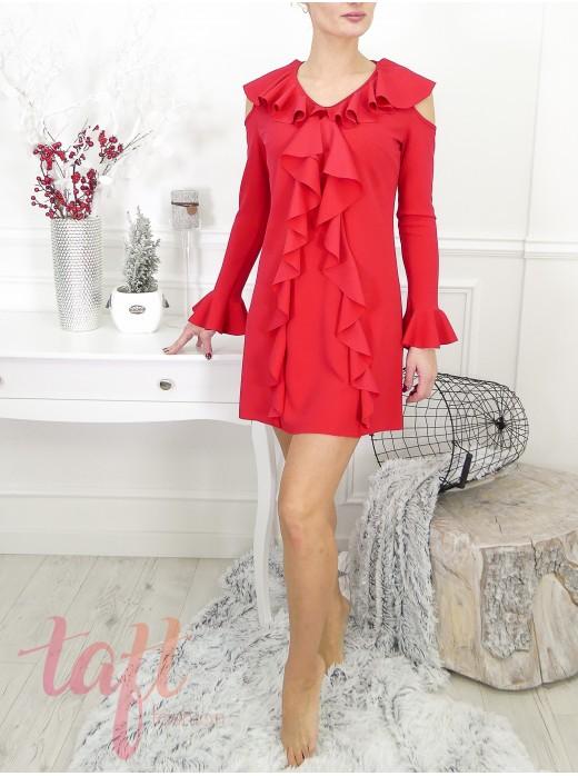 a420b6e943df Červené šaty s volánmi a krajkou na zadnom diely