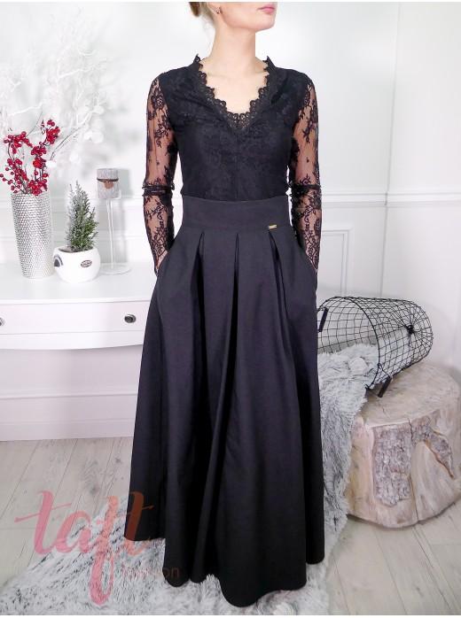 8154f3a87033 Čierna dlha sukňa s tylovou spodničkou