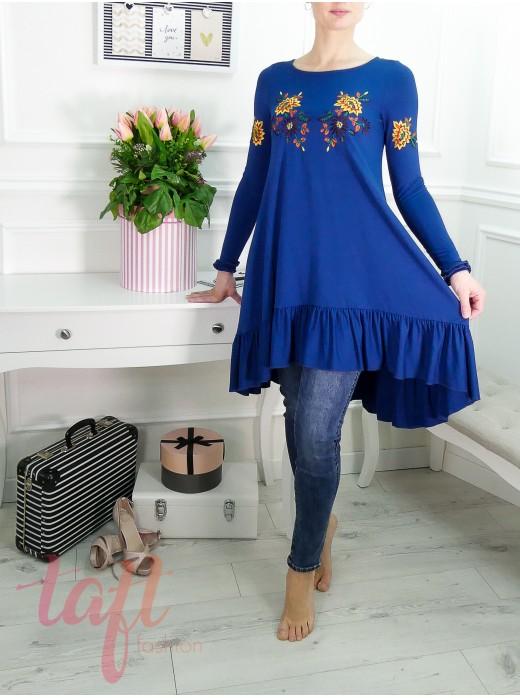 bbb990e0472f Modré šaty alebo tunika s výšivkou a bočnými vreckami