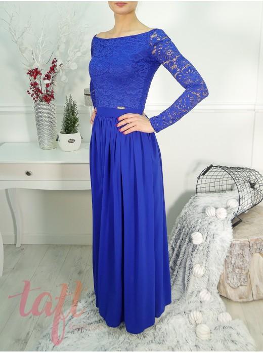 59887d7ffe59 Dlhé šaty s krajkovým topom a šifónovou sukňou - parížska modrá