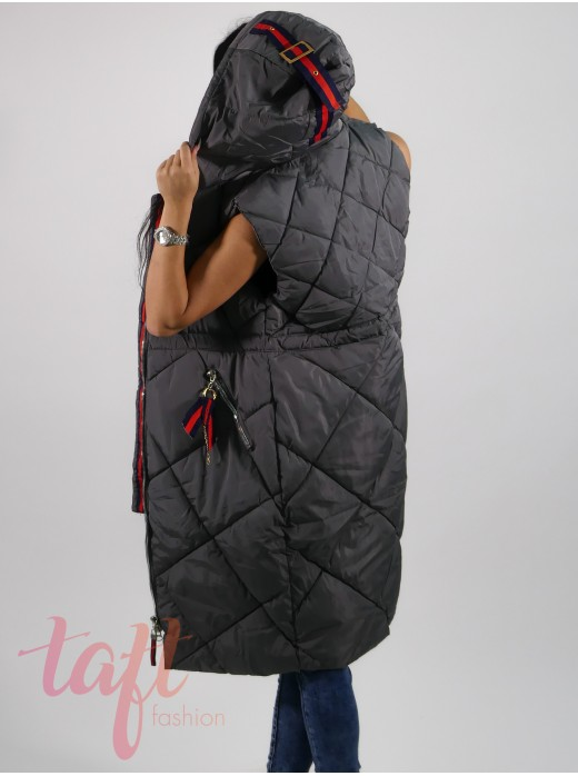 Dlhá prešívaná vesta s kapucňou - sivá cf12b0de031