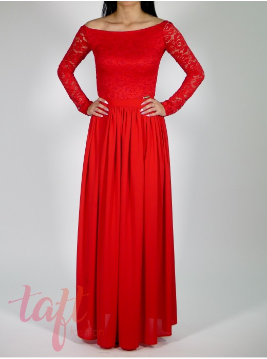 83016a222b2e Dlhé šaty s krajkovým topom a šifónovou sukňou - červené