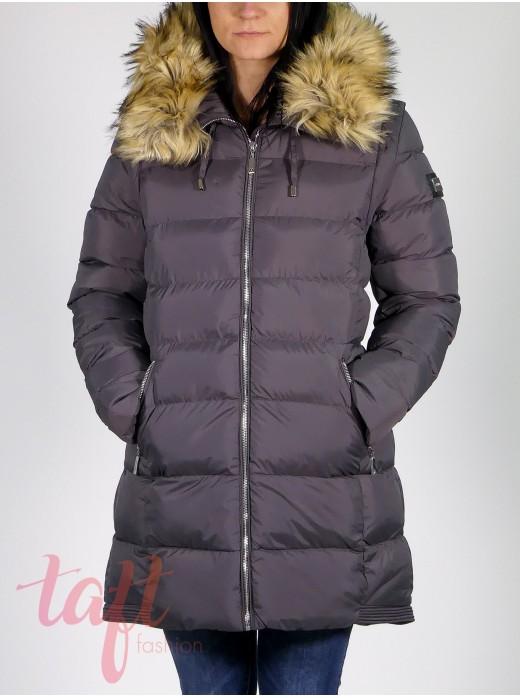 Zimná vetrovka s kapucňou - tmavo sivá 30b415389dc